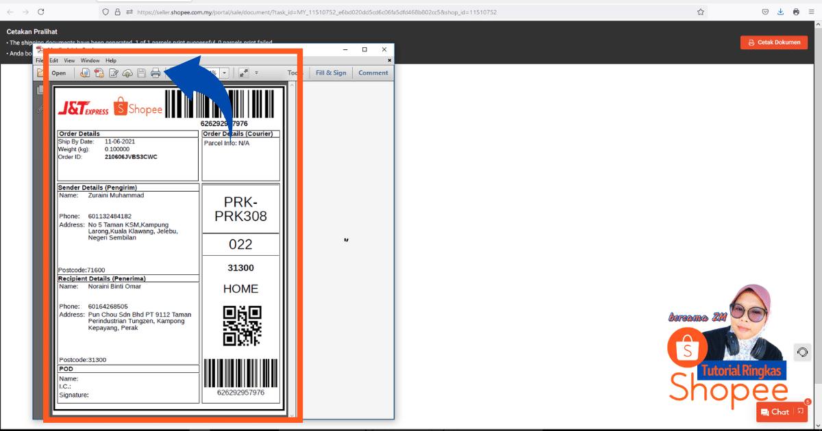 tutorial ringkas cara nak print slip pos consignment note shopee 20217
