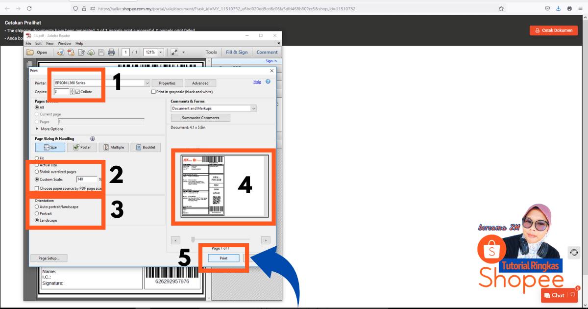 tutorial ringkas cara nak print slip pos consignment note shopee 20218